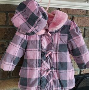 Other - Pink & Gray Plaid Coat & Hat Sz 2T